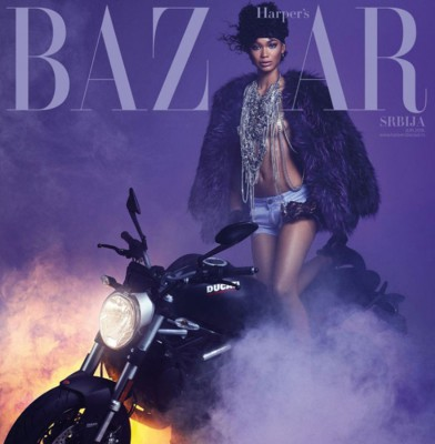 Chanel Iman pays tribute to Prince on the June Cover of Harper\'s Bazaar Serbia
