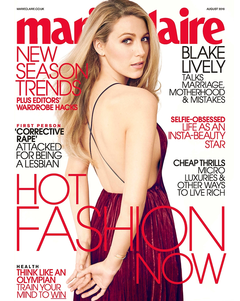 Blake Lively is Marie Claire UK\'s  August issue cover star