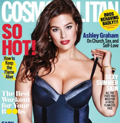 Ashley Graham Fronts August 2016 Cosmopolitan Magazine