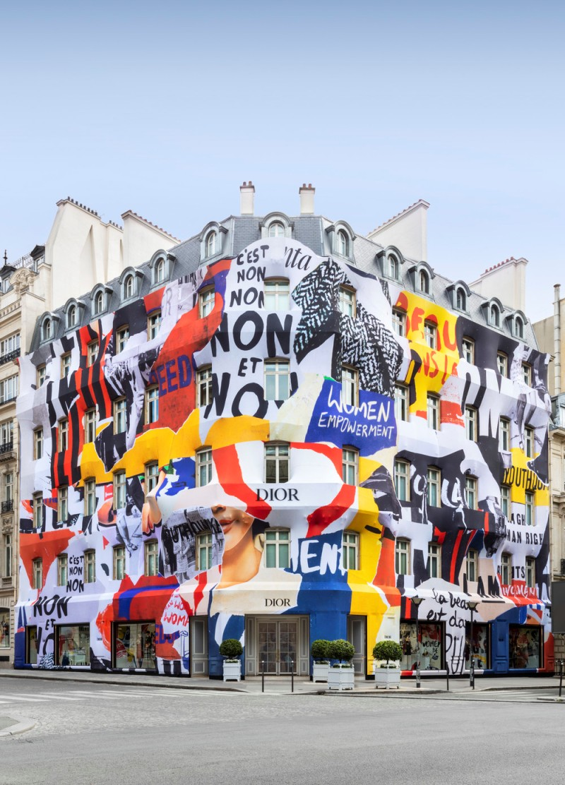 Dior transforms Paris boutique facade for new campaign