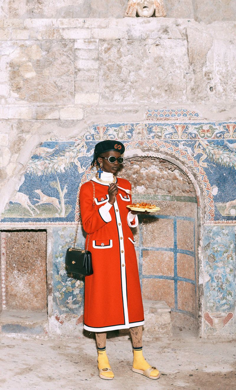 Gucci\'s Pre-fall 2019 Lookbook features Snacks as Accessories