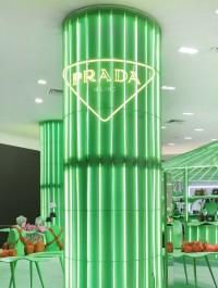 Prada opens green pop-up store in Paris
