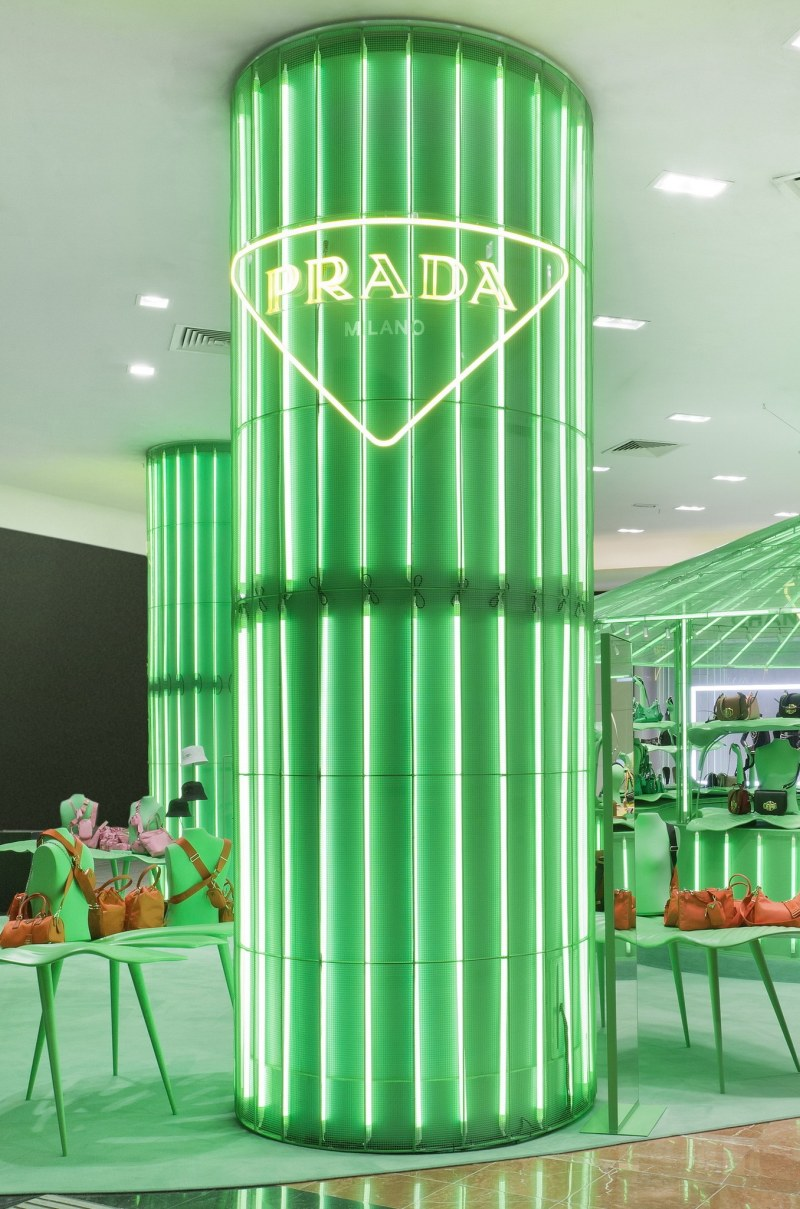 Prada opens green pop-up store in Paris